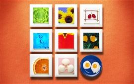 Стена цветов декора фруктов