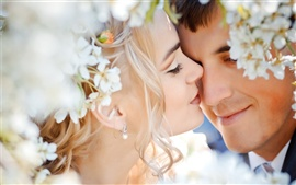 Wedding couple love feelings flowers
