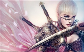 White-haired girl holding a sword