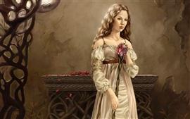 미리보기 배경 화면 마술 지팡이를 들고 금발 소녀
