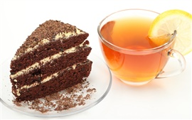 Preview wallpaper Breakfast delicious black tea and cake