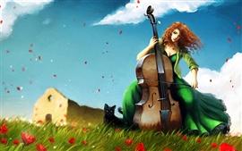 Menina violoncelo na grama