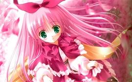 壁紙のプレビュー かわいいピンクの髪のアニメの女の子