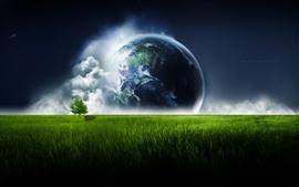 Terra sobre o céu da pradaria verde