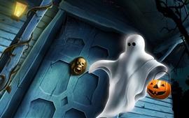 Aperçu fond d'écran Halloween fantôme blanc