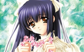 Preview wallpaper Anime girl holding garlands