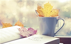 Preview wallpaper Book leaf cup