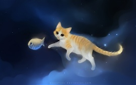 Cat chasing fish in the sky of painting