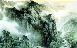 Chinese ink painting mountains and rivers