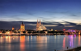 Preview wallpaper Cologne Cathedral at night