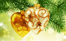 Preview wallpaper Gold heart-shaped Christmas ornament