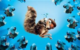Aperçu fond d'écran Ice Age écureuil gland piranhas