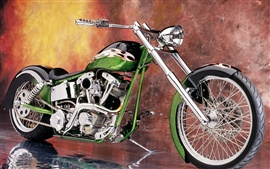 Motorcycle custom green super nice