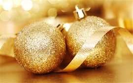Preview wallpaper Two gold Christmas balls