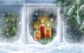 Warm candlelight Christmas snow