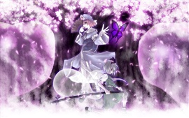 Preview wallpaper Anime girl purple cherry trees