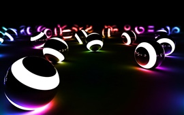Preview wallpaper Balls of light in the dark creative design
