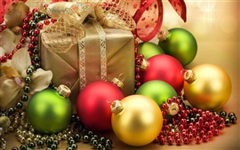 Preview wallpaper Christmas ornaments and Christmas gifts