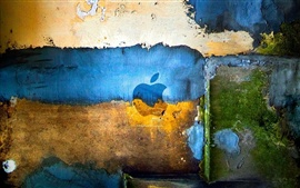 Colorful graffiti on the wall of the Apple