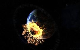 Tierra de asteroides chocando
