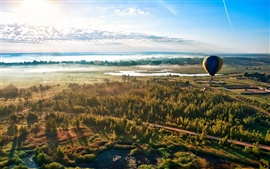 Preview wallpaper Forest road sky balloon