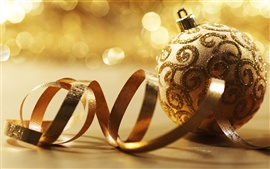 Preview wallpaper Golden Christmas balls and ribbons