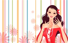 Gorgeous dress fashion girl vector