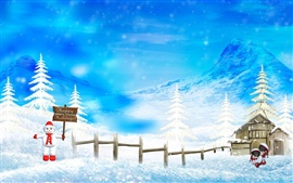 Preview wallpaper Merry Christmas beautiful snow scene