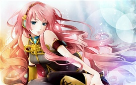 Preview wallpaper Pink hair anime girl listening to music