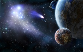 Planet and comet in space