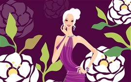 Purple dress fashion girl vector