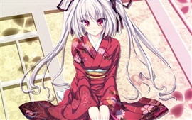 Red kimono anime girl Wallpapers Pictures Photos Images
