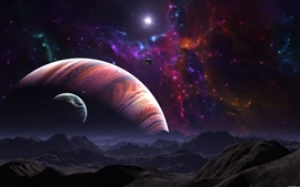 Preview wallpaper Red planet and blue planet