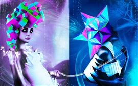 Aperçu fond d'écran Forte de couleur modélisation créative fashion girl