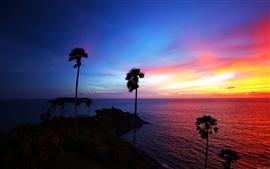 Tailandia playa hermosa puesta de sol