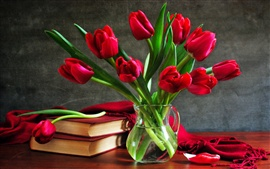 Tulip bouquet still life vase book