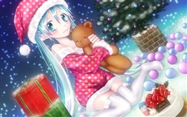 Preview wallpaper Anime girl on the Christmas eve