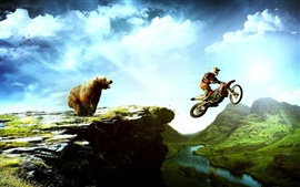 Preview wallpaper Bear and the motorcycle chase