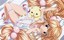 Preview wallpaper Bed of golden hair anime girl