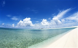Preview wallpaper Blue sky and white clouds beach