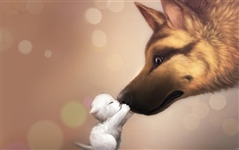 Preview wallpaper Dog and kitten friendship kiss