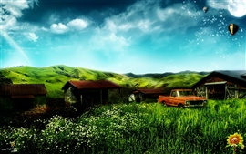 Preview wallpaper Dream home house and truck