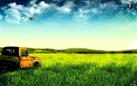 Preview wallpaper Dream of green pastures and old trucks