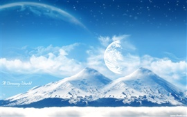 Preview wallpaper Dream world beautiful snow-capped mountains