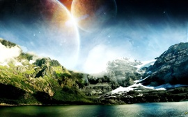 미리보기 배경 화면 산과 물이 꿈의 세계