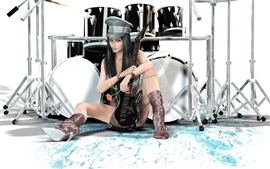 Preview wallpaper Guitar drums fantasy girl style different