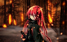 In the forest of red hair anime girl