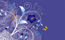 Preview wallpaper Vector background of flowers and butterflies
