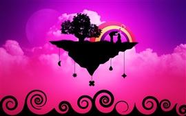 Aperçu fond d'écran Vecteur d'amour thème violet