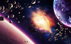 Preview wallpaper Asteroids planet nebula and spaceship